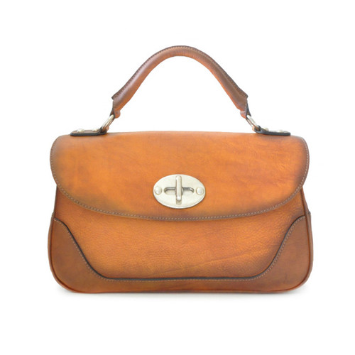 Garfagnana: Bruce Range Collection –  Italian Calf Leather Top Handle Handbag in Cognac