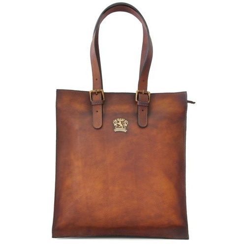 Bibbiena: Bruce Range Collection – Italian Calf Leather Buckle Handle Tote Handbag in Brown