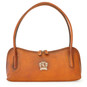 Sansepolcro: Bruce Range Collection – Italian Calf Leather Baguette Shoulder Bag in Cognac