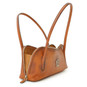 Sansepolcro: Bruce Range Collection – Italian Calf Leather Baguette Shoulder Bag in Cognac (interior open view)