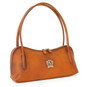 Sansepolcro: Bruce Range Collection – Italian Calf Leather Baguette Shoulder Bag in Cognac (side view)