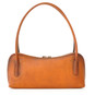 Sansepolcro: Bruce Range Collection – Italian Calf Leather Baguette Shoulder Bag in Cognac (back view)