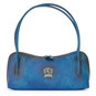 Sansepolcro: Bruce Range Collection – Italian Calf Leather Baguette Shoulder Bag in Blue