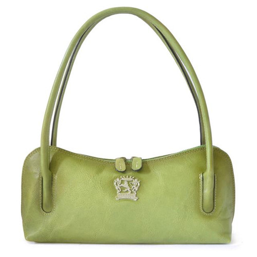 Sansepolcro: Bruce Range Collection – Italian Calf Leather Baguette Shoulder Bag in Light Green