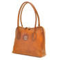 Talla: Bruce Range Collection – Italian Calf Leather Tote Shoulder Bag in Brown (side view)