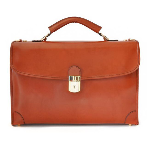 Leccio: Radica Range Collection – Italian Calf Leather Tophandle Briefcase in Brown