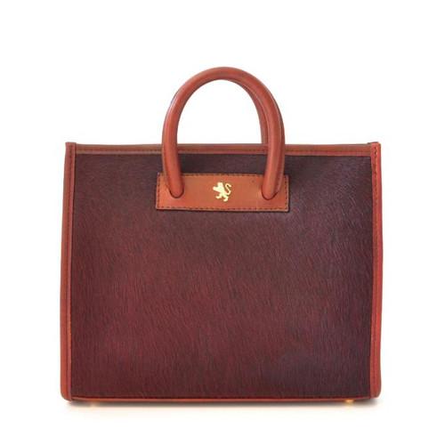 Alberti: Callavino Range Collection– Small Italian Calf Leather Tote Handbag in Chianti