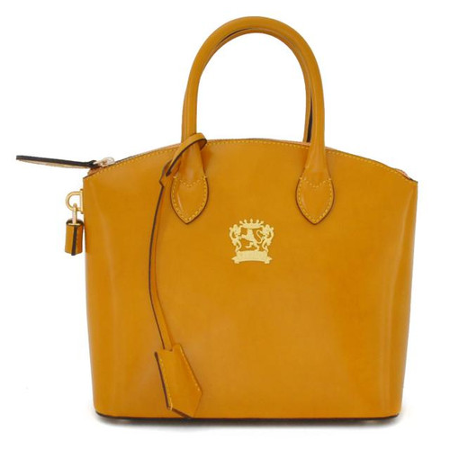Versilia: Radica Range Collection – Small Italian Calf Leather Cross body Tote Handbag in Mustard