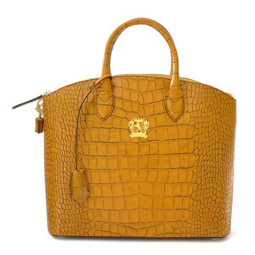 Versilia: King Croco Range Collection – Small Italian Calf Leather Cross body Tote Handbag in Mustard
