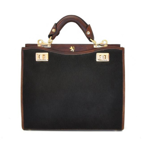 Anna Maria Luisa: Callavino Range Collection – Medium Italian Calf Leather Top Handle Handbag in Coffee