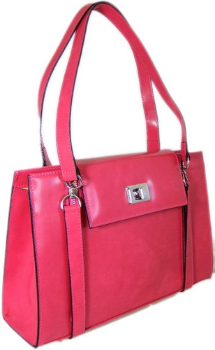 Angelico: Radica Range Collection – Large Italian Calf Leather Shoulder Briefpurse in - Pink