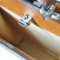 Anna Maria Luisa: Bruce Range Collection – Small Italian Calf Leather Top Handle Handbag in Cognac CloseUp View