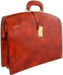 Brunelleschi: Radica Collection - Lawyer Italian Calf Leather Briefcase in Brown