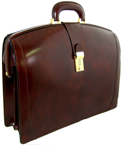 Brunelleschi: Radica Collection - Lawyer Italian Calf Leather Briefcase in Coffee