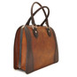 Saturnia: Bruce Range Collection – Grande Italian Calf Leather Top Handle Tote Handbag Brown Main View