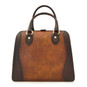 Saturnia: Bruce Range Collection – Grande Italian Calf Leather Top Handle Tote Handbag Brown