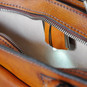 Milano: Bruce Range Collection – Italian Calf Leather Tophandle Briefcase in Brown (closeup view)