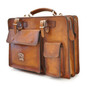 Milano: Bruce Range Collection – Italian Calf Leather Tophandle Briefcase in Brown (front side view)