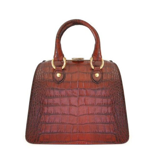 Saturnia: King Croco Range Collection – Small Italian Calf Leather Tophandle Tote Handbag in Brown