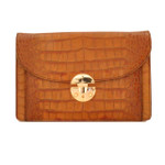 Tullia d'Aragona: King Croco Range Collection – Italian Calf Leather Cross body Clutch in Cognac