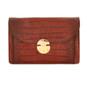 Tullia d'Aragona: King Croco Range Collection – Italian Calf Leather Cross body Clutch in Brown