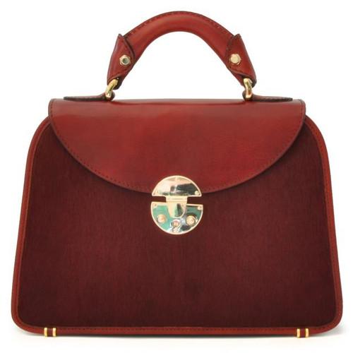 Veneziano: Cavallino Range Collection – Small Italian Calf Leather Top Handle Grab Handbag in Chianti