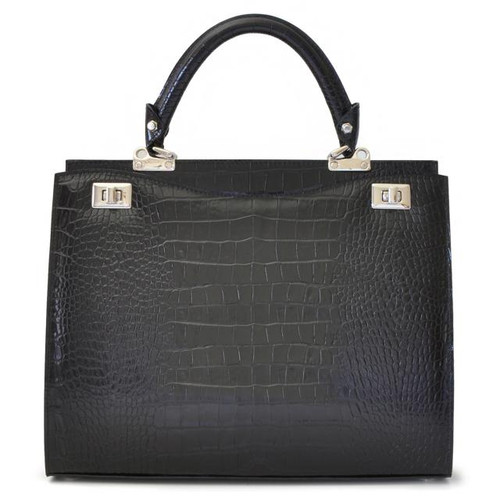 Anna Maria Luisa: King Croco Range Collection – Large Italian Calf Leather Top Handle Handbag in Black
