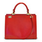 Anna Maria Luisa: King Croco Range Collection – Large Italian Calf Leather Top Handle Handbag in Cherry