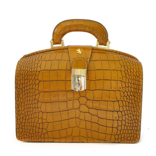 Miss Brunelleschi: King Croco Range Collection – Italian Calf Leather Handbag in Mustard