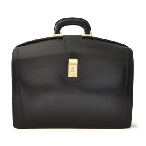 Brunelleschi: Santa Croce Range Collection – Italian Calf Leather Lawyer Briefcase in Black