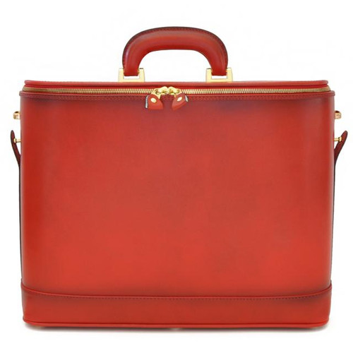 Raffaello: Santa Croce Range Collection Big –  Grande Italian Calf Leather Tophandle Laptop Briefcase in Cherry