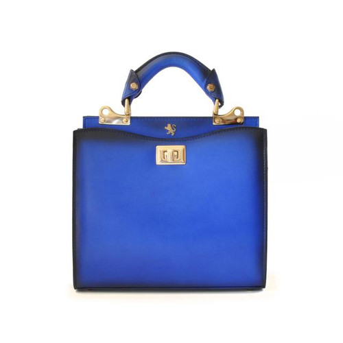 Anna Maria Luisa: Santa Croce Range Collection – Small Italian Calf Leather Top Handle Handbag in  Electric Blue