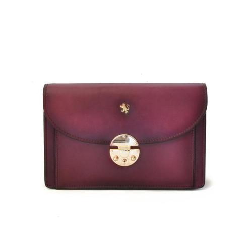 Tullia d'Aragona: Santa Croce Collection – Italian Calf Leather Cross body Clutch in Violet