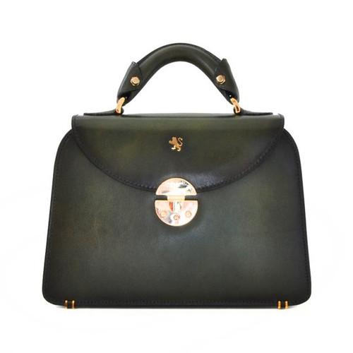 Veneziano: Santa Croce Range Collection – Small Italian Calf Leather Top Handle Grab Handbag in Dark Green