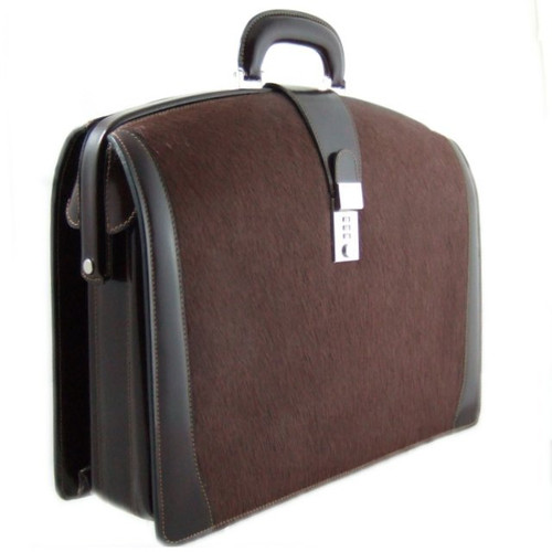 Brunelleschi: Cavallino Range Collection – Grande Italian Calf Leather Lawyer Briefcase in - Brown