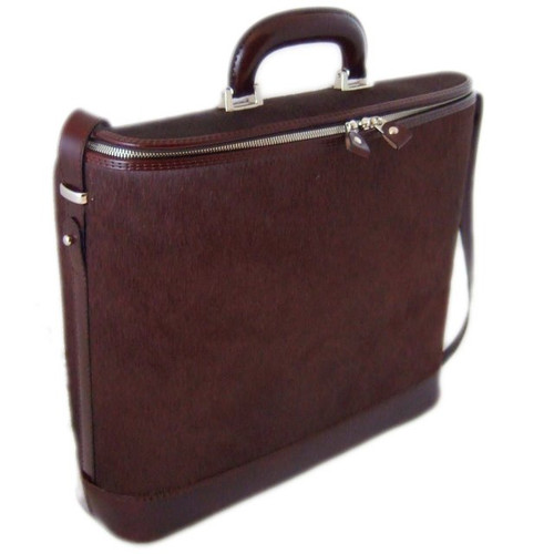 Raffaello: Cavallino Range Collection – Grande Italian Calf Leather Tophandle Laptop Briefcase in Brown