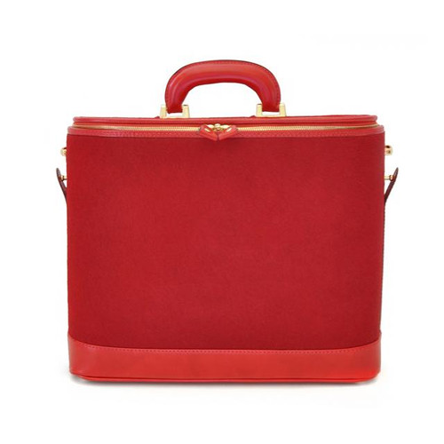 Raffaello: Cavallino Range Collection – Italian Calf Leather Top-Handle Laptop Briefcase in Cherry