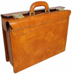 Lorenzo Magnifico II : Radica Range Collection – Triple Compartment Italian Calf Leather Briefcase  in Cognac