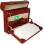 Ghirlandaio: King Croco Range Collection – Italian Calf Leather Small Travel Desk Attache Briefcase  in Brown - Open View