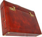 Ghirlandaio: King Croco Range Collection – Italian Calf Leather Small Travel Desk Attache Briefcase  in Brown- Back View