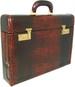 Ghirlandaio: King Croco Range Collection – Italian Calf Leather Small Travel Desk Attache Briefcase in- King Marrone