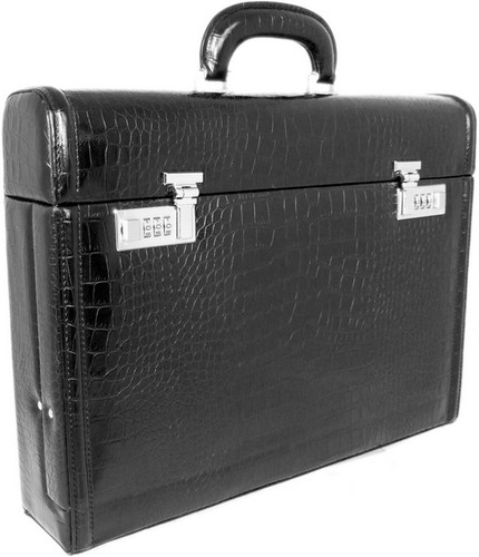 Ghirlandaio: King Croco Range Collection – Italian Calf Leather Small Travel Desk Attache Briefcase in - King Nero