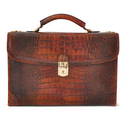 Leccio: King Croco Range Collection – Italian Calf Leather Tophandle Briefcase in Brown