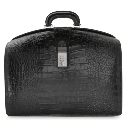 Brunelleschi: King Croco Range Collection - Grande Italian Calf  Leather Lawyer Briefcase - Color Black Croco