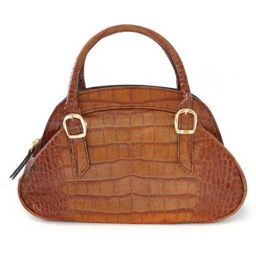 Giotto: King Croco Range Collection –  Buckle Handle Italian Calf Leather Handbag in Cognac