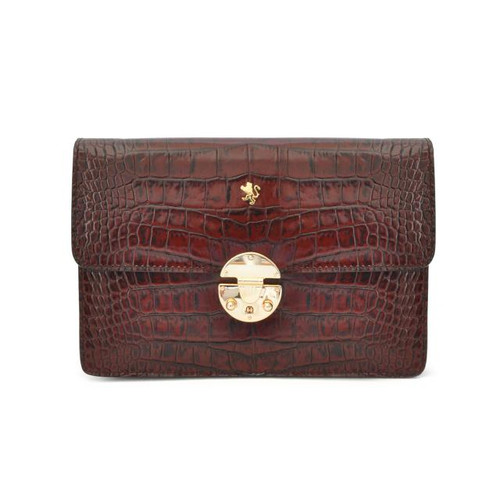 Lucrezia: King Croco Range Collection – Italian Calf Leather Cross Body Clutch in Brown