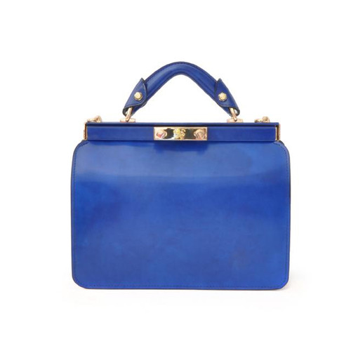 Vittoria Colonna: Radica Range Collection – Italian Calf Leather Cross-body Top handle Bag in Electric Blue