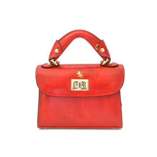 Lucignano: Radica Range Collection – Small Italian Calf Leather Tophandle Bag in Cherry