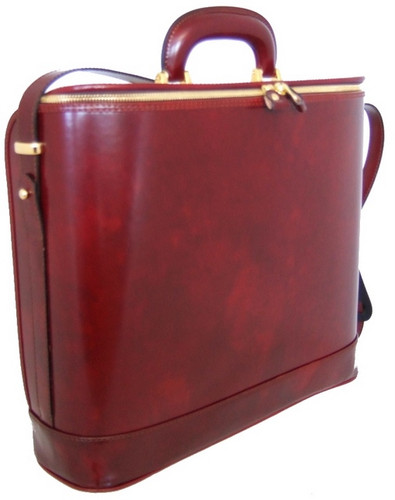 Raffaello: Radica Range Collection – Italian Calf Leather Top-Handle Laptop Briefcase in- Chianti