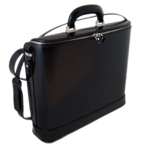 Raffaello: Radica Range Collection – Grande Italian Calf Leather Tophandle Laptop Briefcase in - Black
